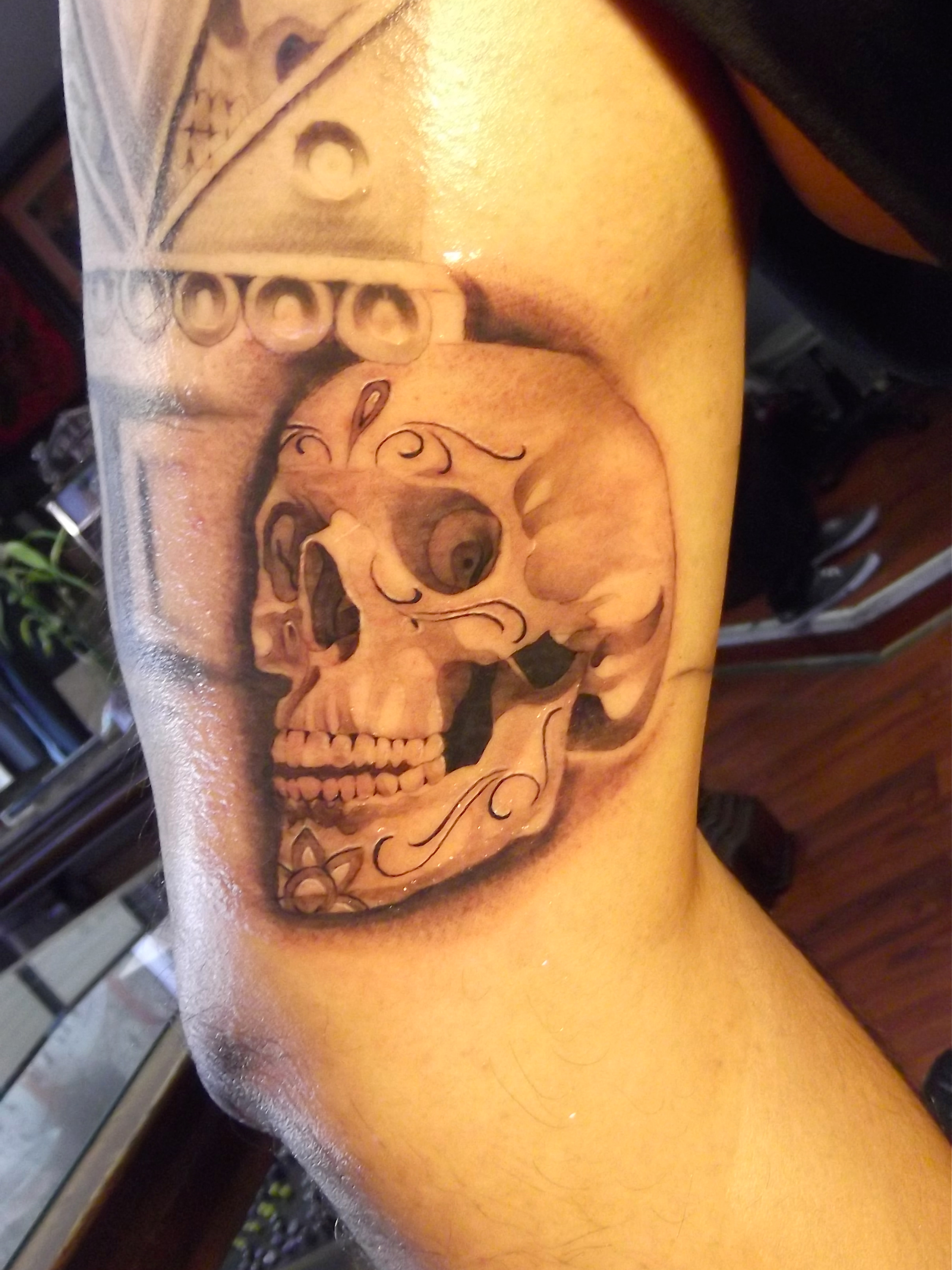 Skull tattoo bryangvargas for Day of the dead skull tattoo