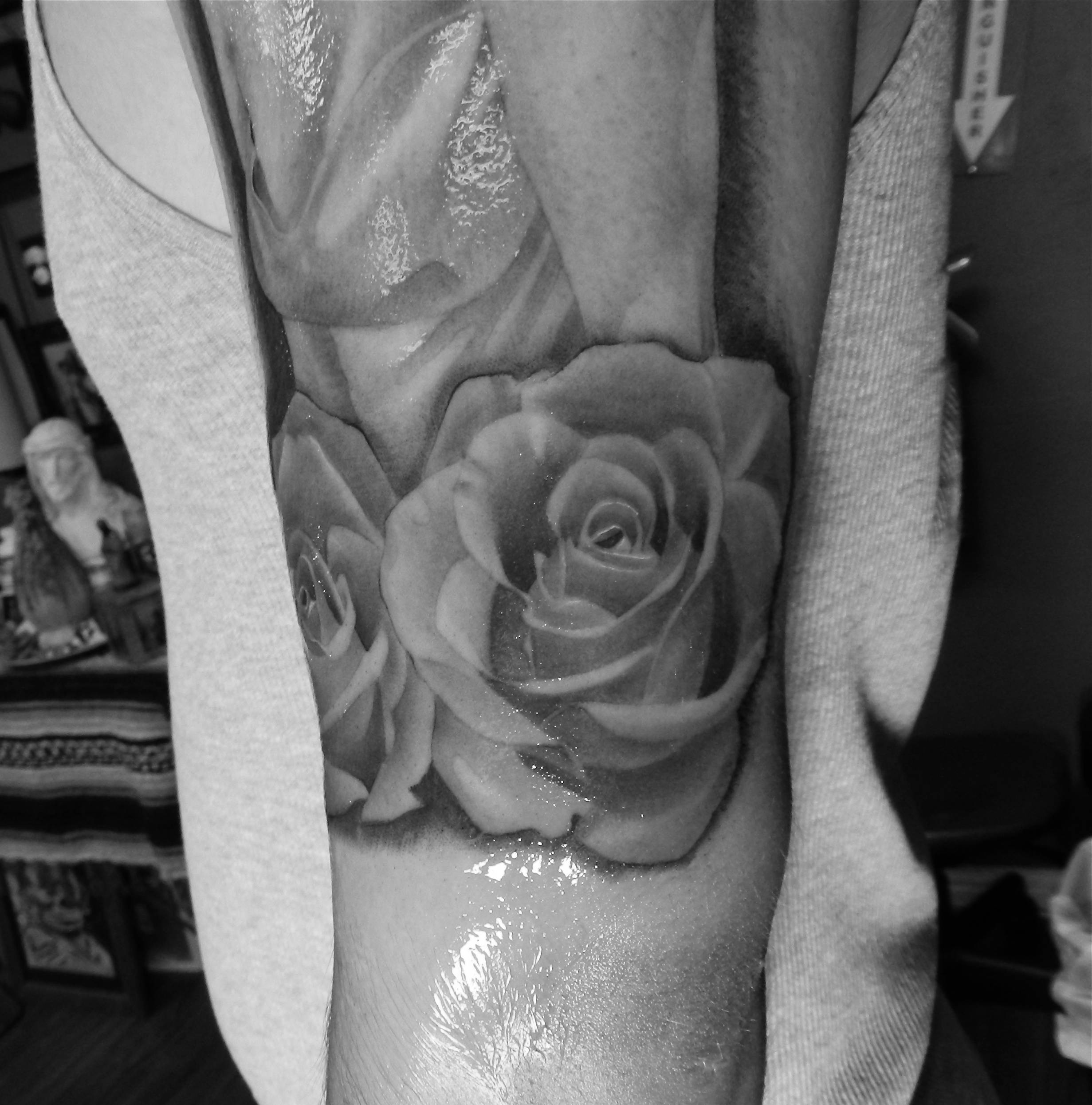 Black And White Red Rose Tattoo